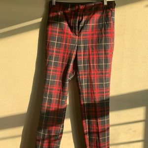 Red plaid Zara slacks